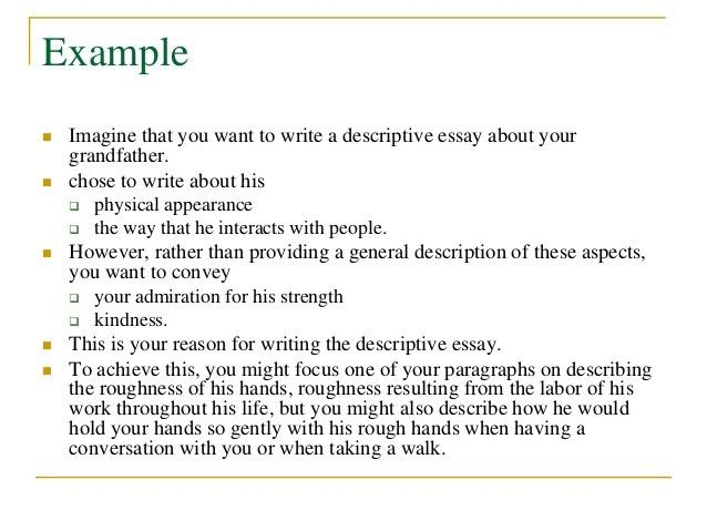 description essay example