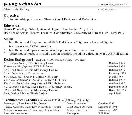 Technical Theatre Resume Guide