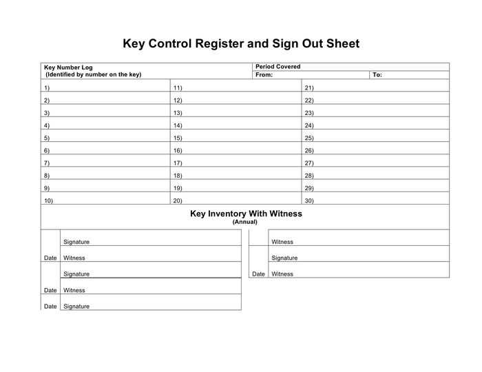 Key control register and sign out sheet in Word and Pdf formats