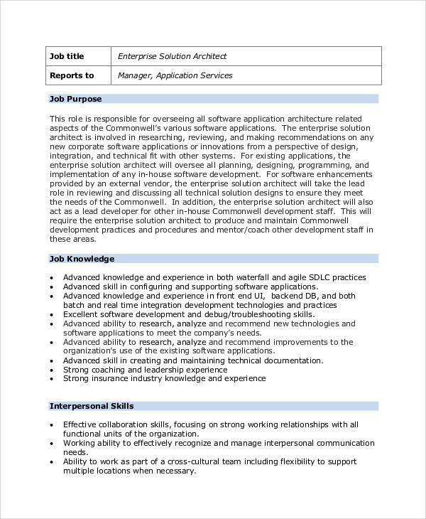 Sample Architect Job Description - 8+ Examples in PDF