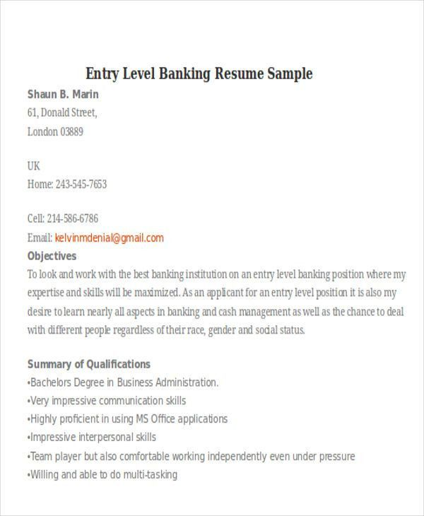 entry level banking resume sample resume for entry level bank
