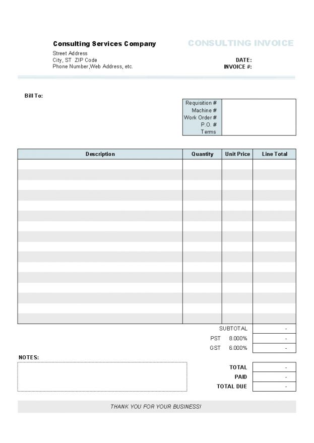 Invoice Forms Printable Free Template 9 Sample Of Invoices For ...