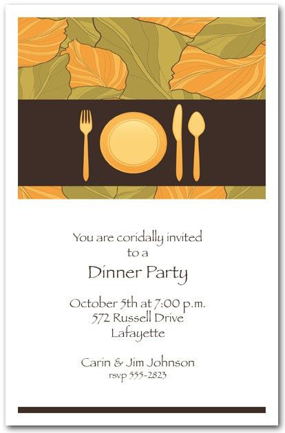 Place Setting & Autumn Leaves Dinner Party Invitations