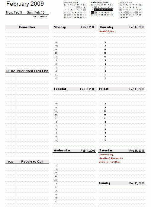 Weekly Planner Template - Free Printable Weekly Planner for Excel