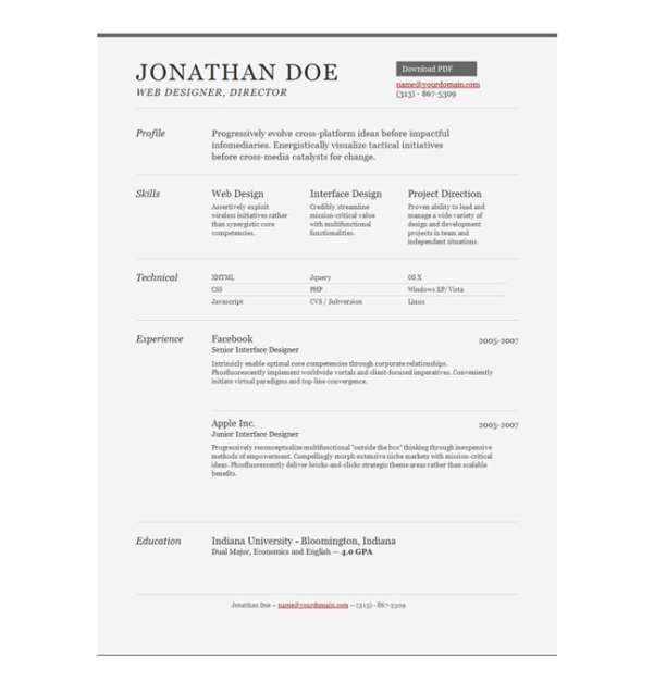 11 Free HTML Resume / CV Website Templates - XDesigns