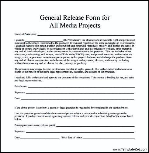 General Media Project Release Form | TemplateZet
