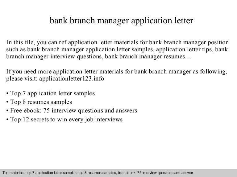 Bank branch manager application letter