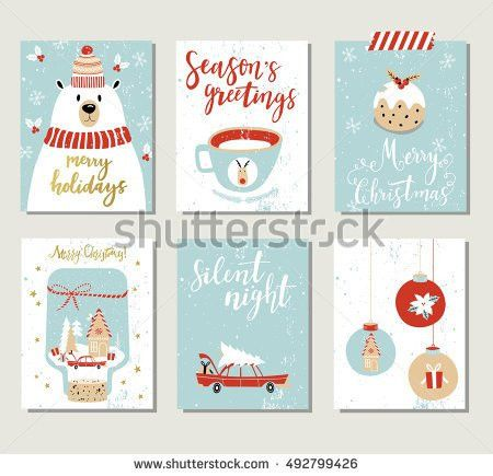 Set Creative 8 Journaling Cards Christmas Stock Vector 525206512 ...