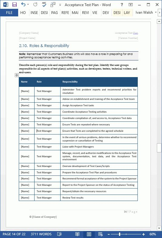 Acceptance Test Plan Template - MS Word | Instant Download