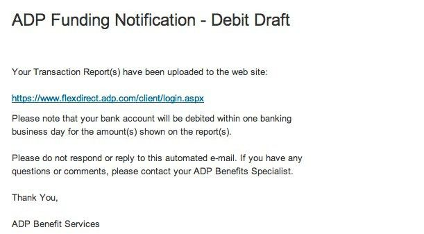 ADP Funding Notification – Debit Draft « spamalysis