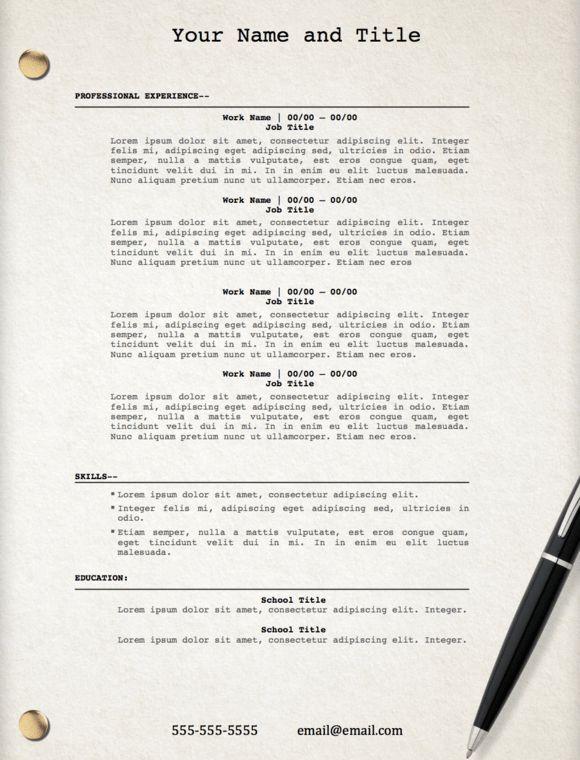 "Movie Script"" Template Resume @creativework247 | Resume Templates ..."
