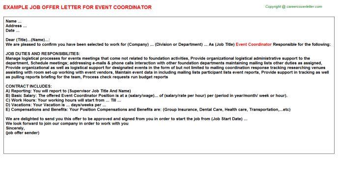 Event Coordinator Offer Letter