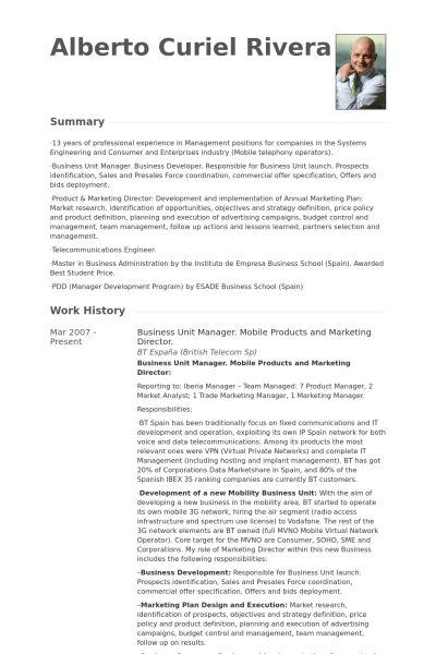 Business Unit Manager Resume samples - VisualCV resume samples ...
