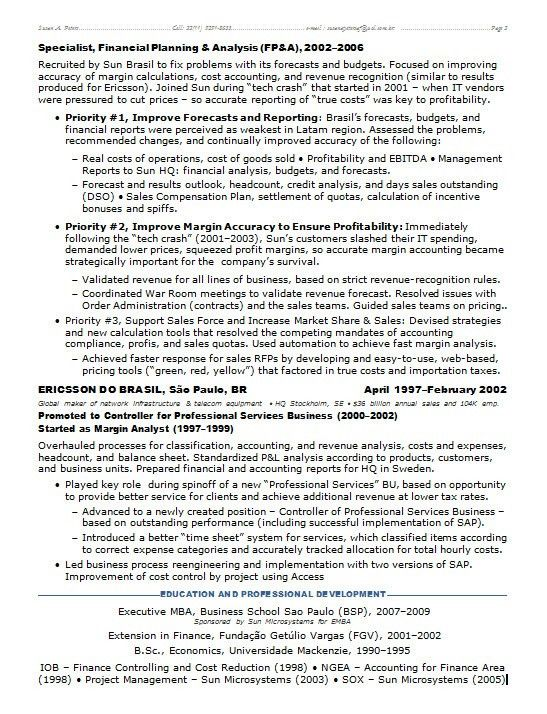Resume Samples Chief Financial Officer Multi-Industries -