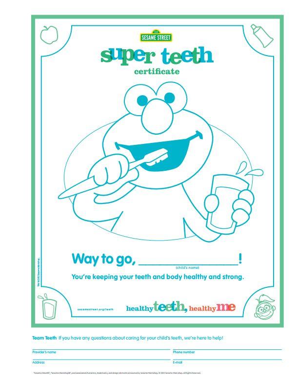 Use this free Sesame Street Super Teeth Certificate printable to ...