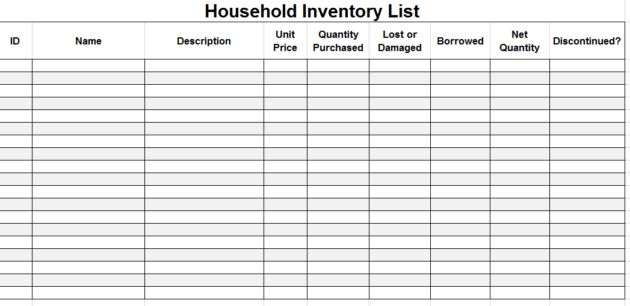 Printable Household Inventory List Template Sample : Helloalive
