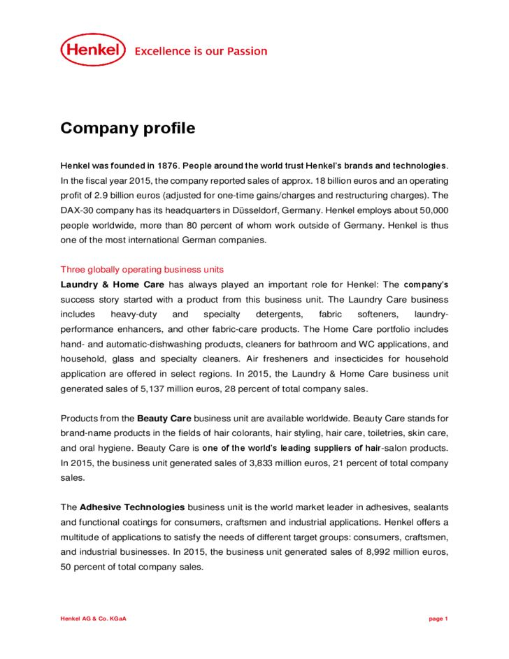 Company Profile Example Free Download