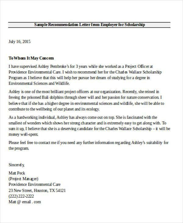 Employer Recommendation Letter Sample - 9+ Examples in Word, PDF