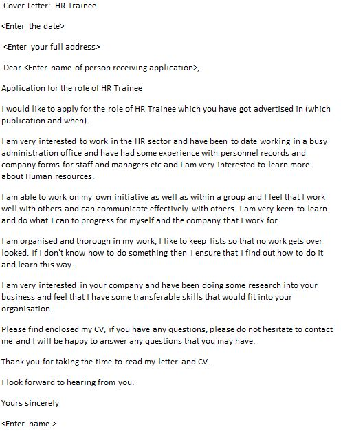 HR Trainee Cover Letter Example - icover.org.uk