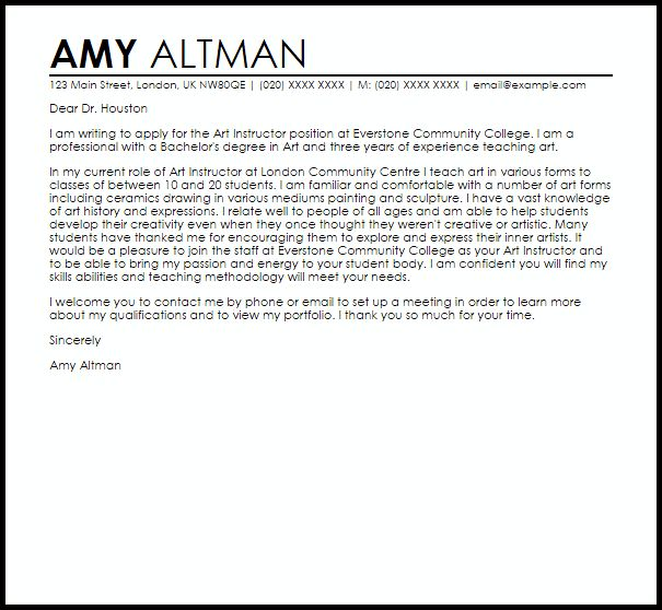 Art Instructor Cover Letter Sample | LiveCareer