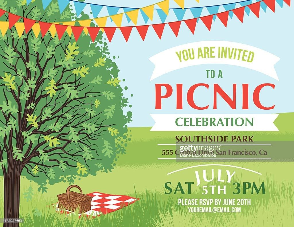 Cartoon Summer Picnic Invitation Template Vector Art | Getty Images
