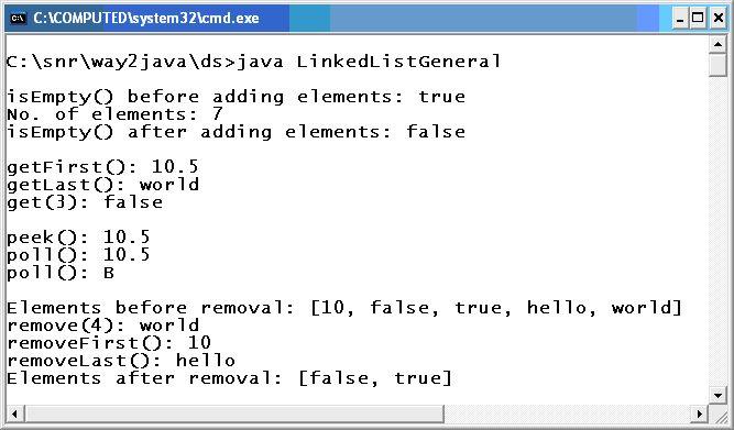 LinkedList Example Java