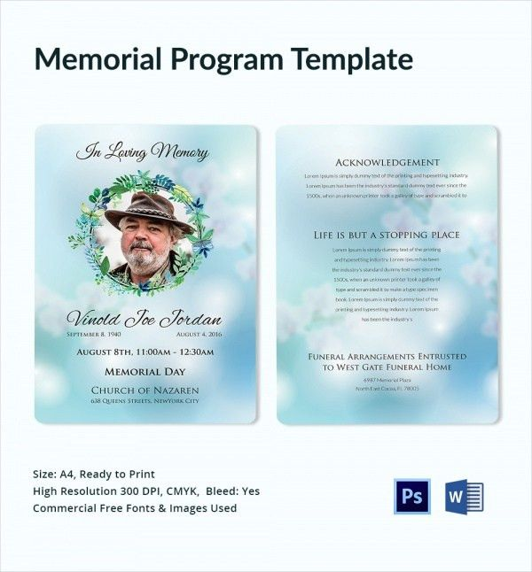 11+ Sample Memorial Program Template - Free Sample, Example, Format