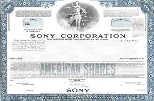 Sony Specimen Stock Certificate