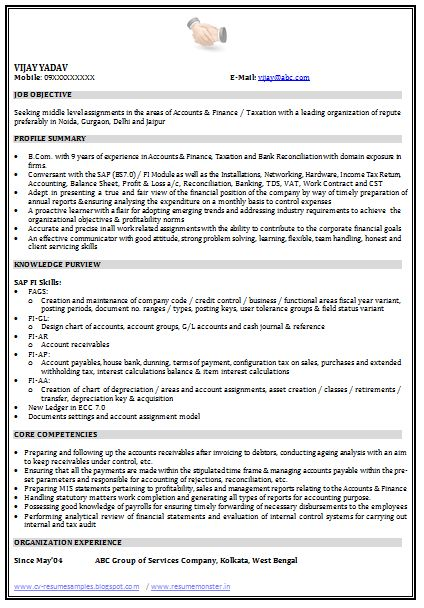 Example Template of an Excellent Graduate and SAP qualified Resume ...