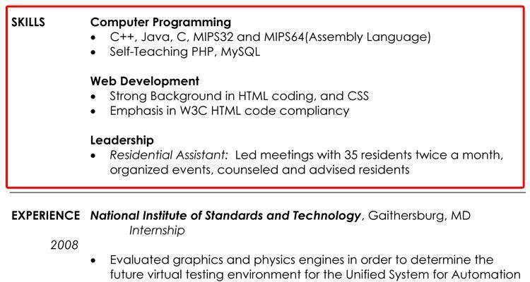 language skills resume samples