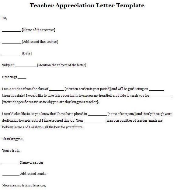 Teacher Appreciation Letter Template | Sample Templates : Pegitboard