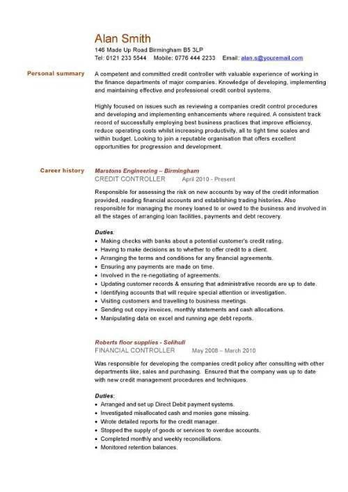 credit controller CV sample, managing information or general ...