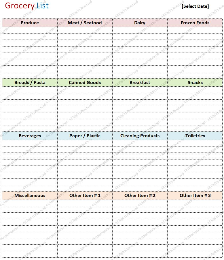 Blank Grocery List Template (Basic Format) - List Templates