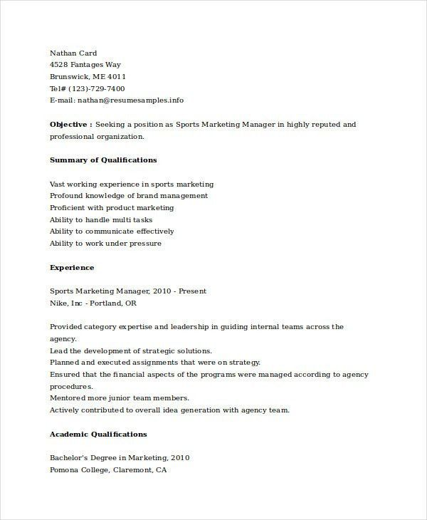 Marketing Resume Samples- 43 Free Word, PDF Documents Download ...