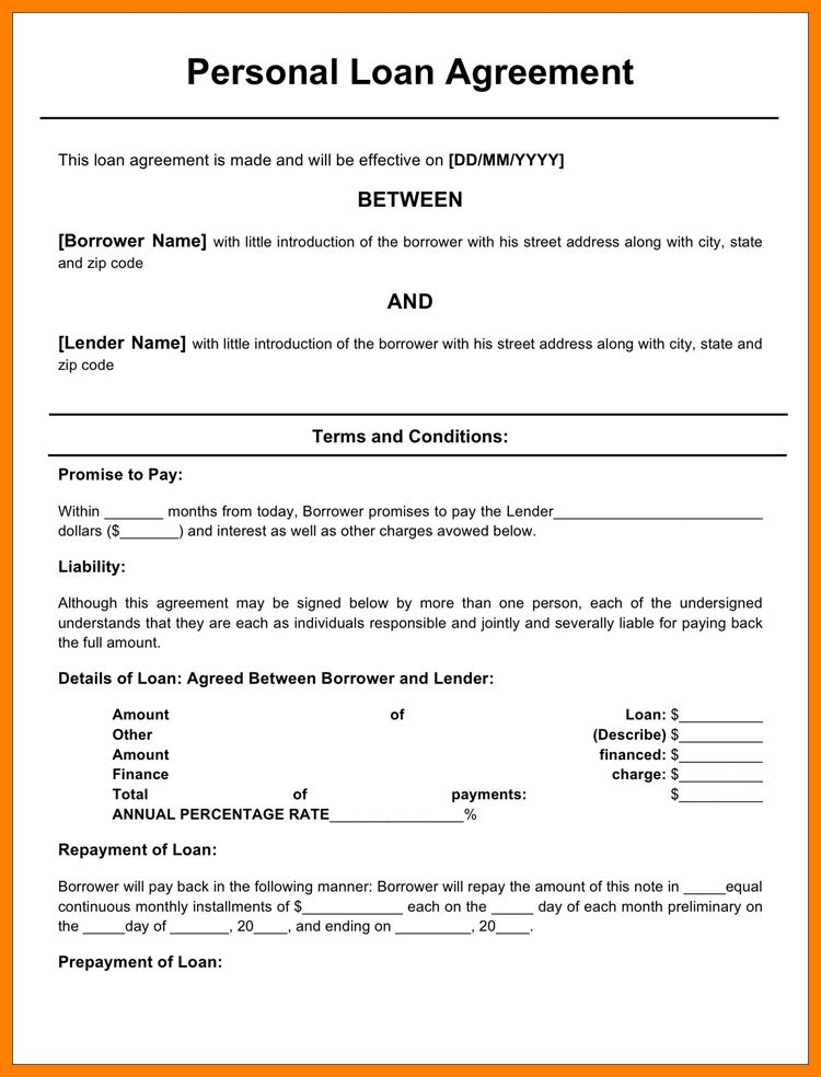 4+ simple loan agreement form | sales resumed