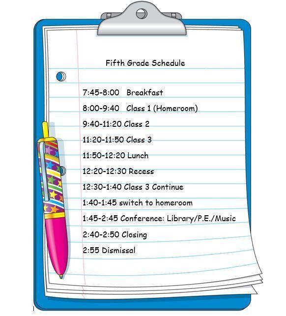 Fifth Grade / Class Schedule