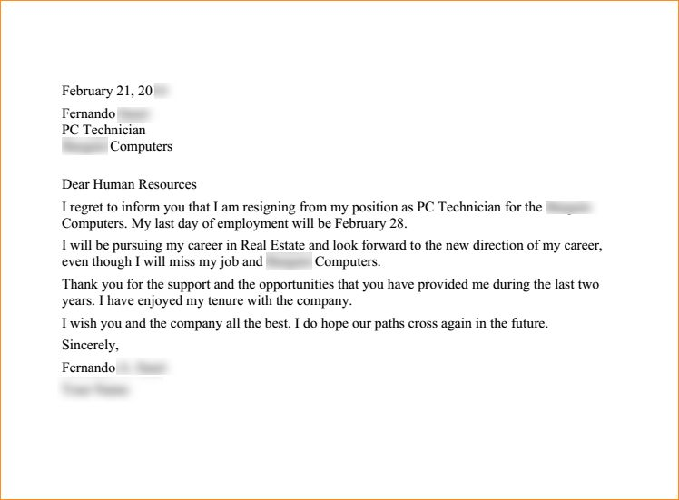 2 weeks notice letter to quit a job - Business Proposal Templated ...