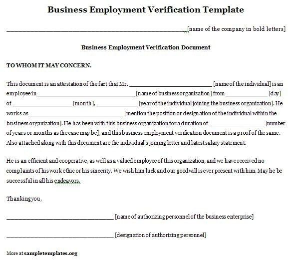Employment Verification Letter Template Word | custom-college-papers