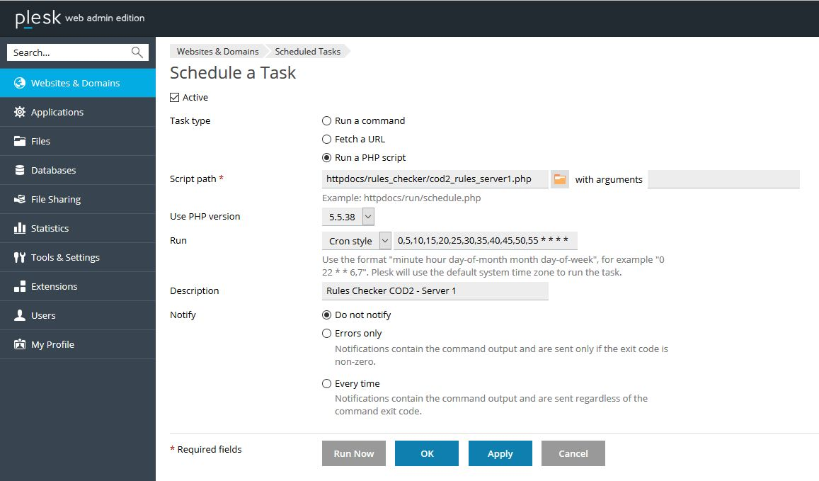 How to schedule a PHP script in Plesk for Windows using cronjob ...