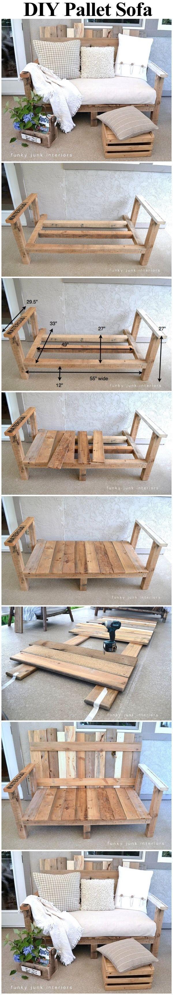 Pallet Wood Outdoor Sofa summer diy craft crafts diy ideas diy crafts backyard ideas summer backyard ideas backyard projects pallet wood idea