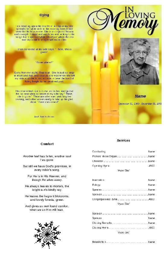 90 best Funeral Program Template images on Pinterest | Program ...