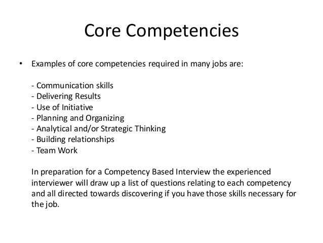 skills and competencies resumes