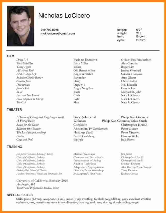 special skills for resume acting resumes actors resume example