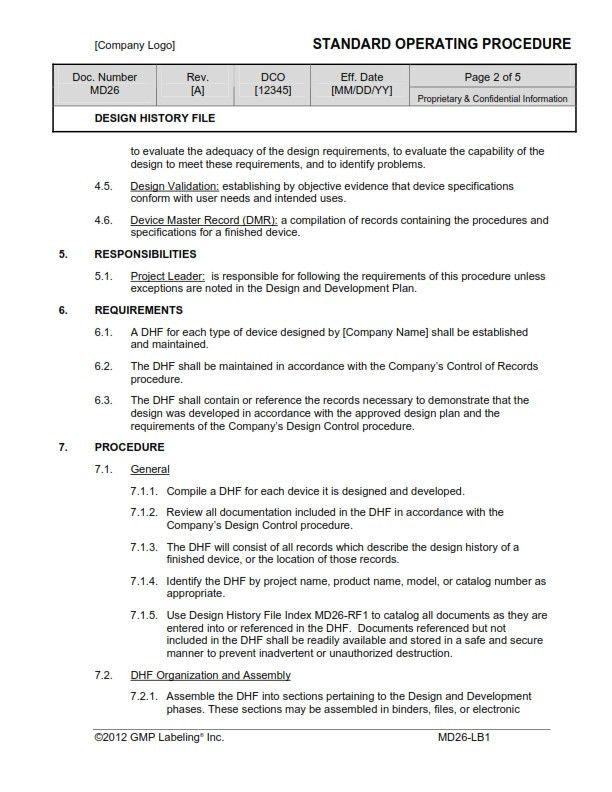 DESIGN HISTORY FILE SOP Template MD26 - GMP, QSR & ISO Compliance