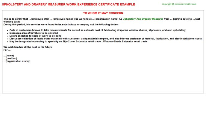 Upholstery And Drapery Measurer Work Experience Certificate