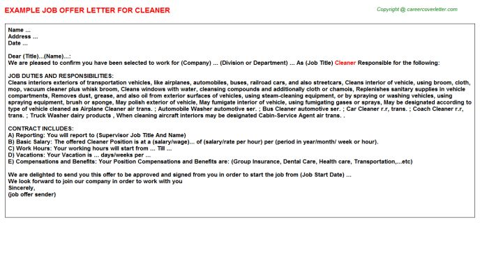 Cleaner Offer Letters