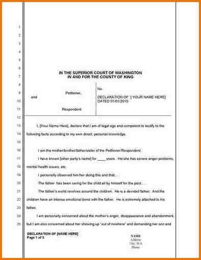 SAMPLE DECLARATION LETTER FOR CHILD CUSTODY.386 500 Csupload ...