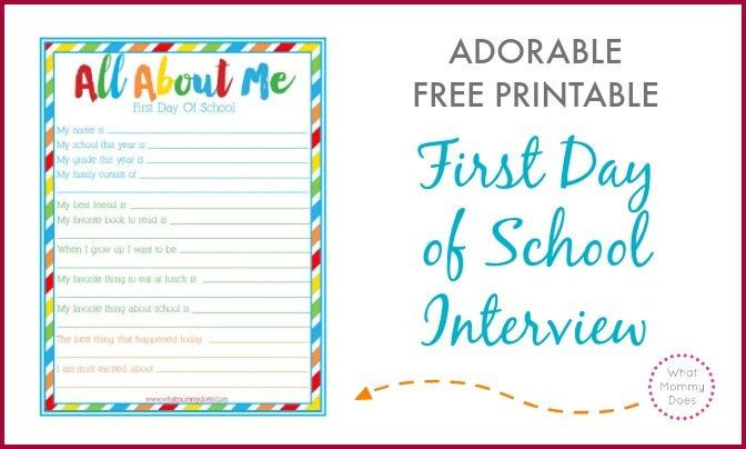 "First Day of School ""All About Me"" Interview ~ Free Printable Back ..."