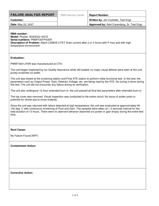 Editable Report Template Sample for Failure Analysis with ...