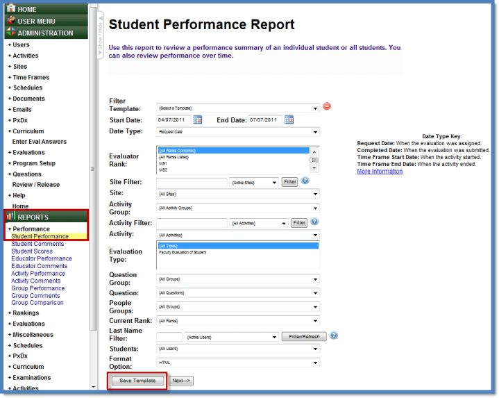 Student Performance Report using Templates - USF IT and Health IS ...